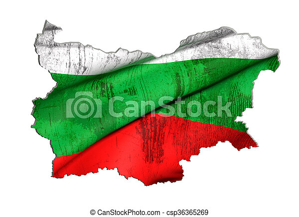Silhouette of Bulgaria map with flag - csp36365269