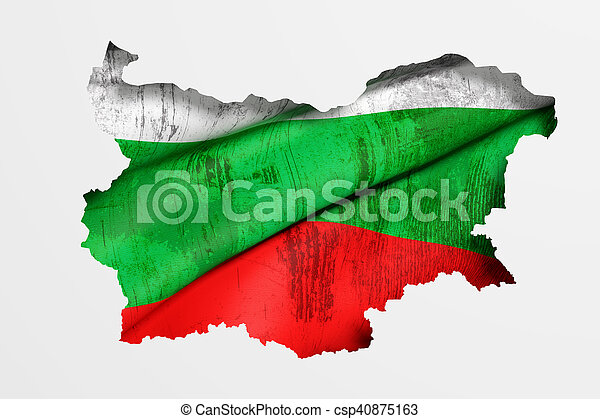 Silhouette of Bulgaria map with flag - csp40875163