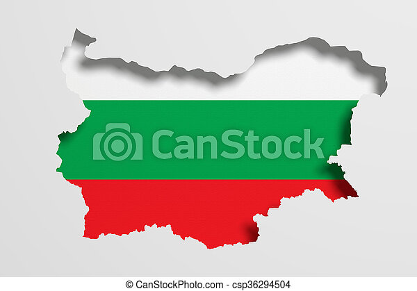 Silhouette of Bulgaria map with flag - csp36294504