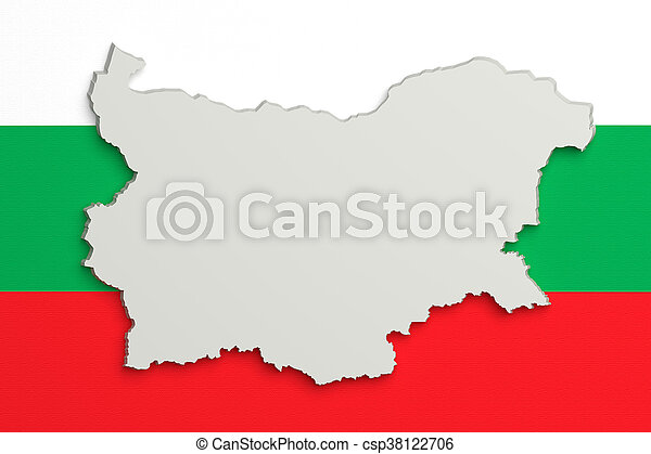 Silhouette of Bulgaria map with flag - csp38122706