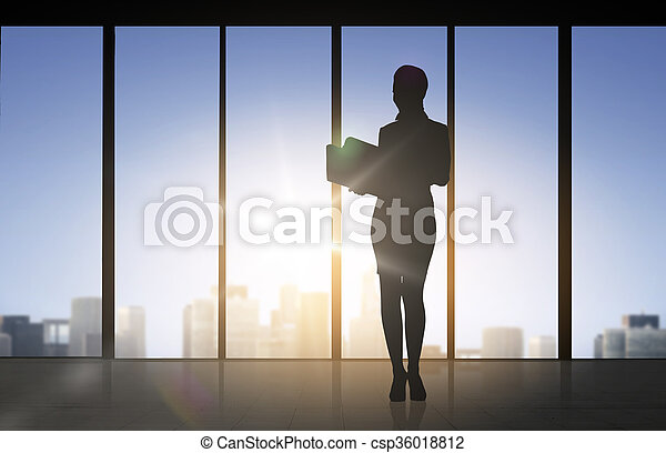 silhouette of business woman with folders - csp36018812