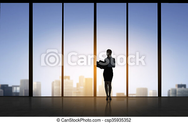 silhouette of business woman with folders - csp35935352