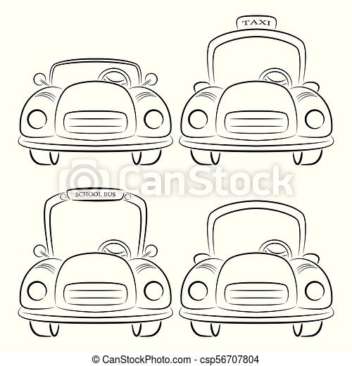 Vector Illustration Of Silhouette Of Car Symbols Front View