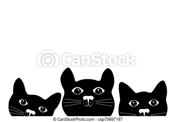 Silhouette of cats on white background. - csp70697197