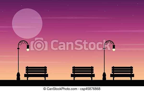 Silhouette of chair on street at sunset landscape - csp45876868
