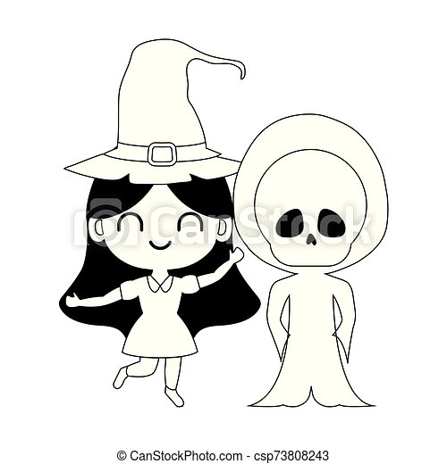 silhouette of children disguised on white background - csp73808243