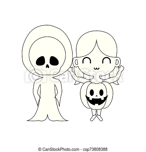 silhouette of children disguised on white background - csp73808388
