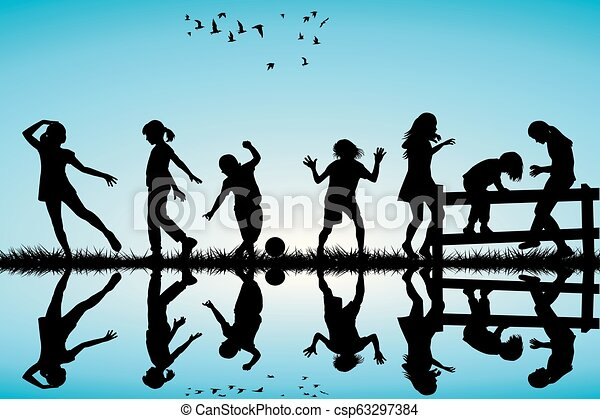 Silhouette of children playing outdoor - csp63297384