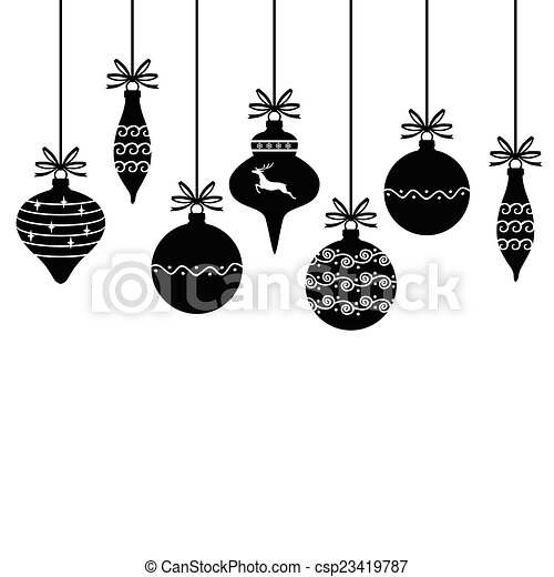 Hanging Christmas Ornaments Silhouette.Silhouette Of Christmas Decorative Baubles