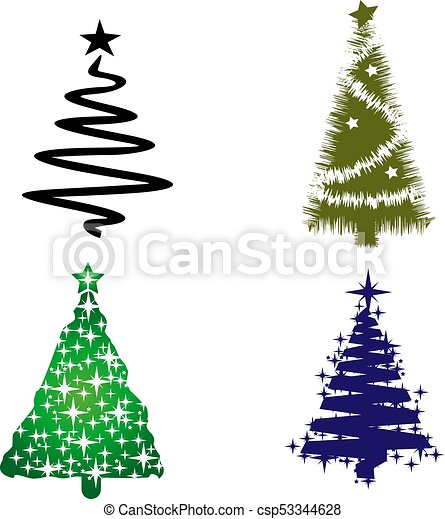Christmas Trees Silhouette.Silhouette Of Christmas Trees Collection On White Background