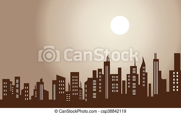 Silhouette of city and moon scenery - csp38842119