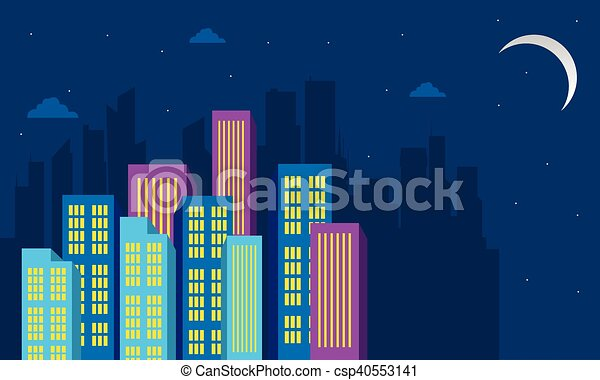 Silhouette of city building at the night - csp40553141
