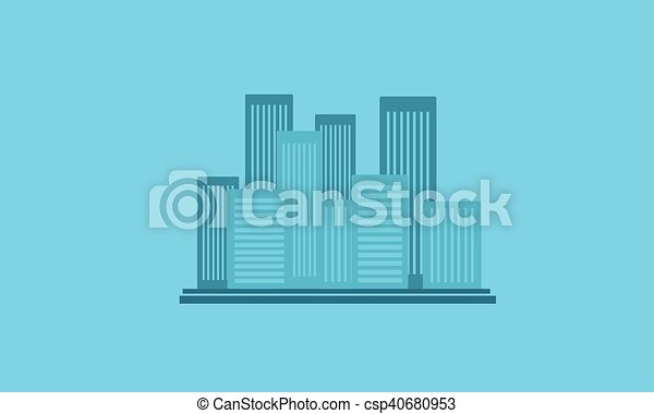 Silhouette of city with building - csp40680953