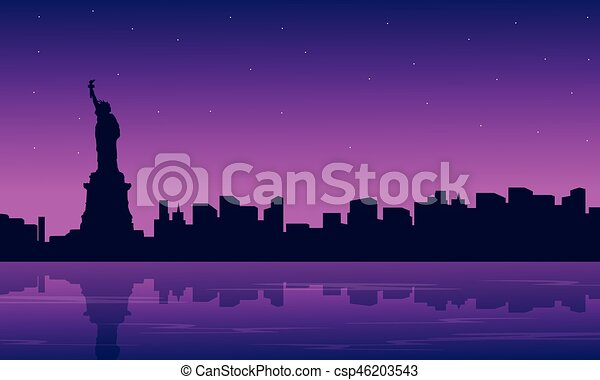 Silhouette of city with liberty building scenery - csp46203543