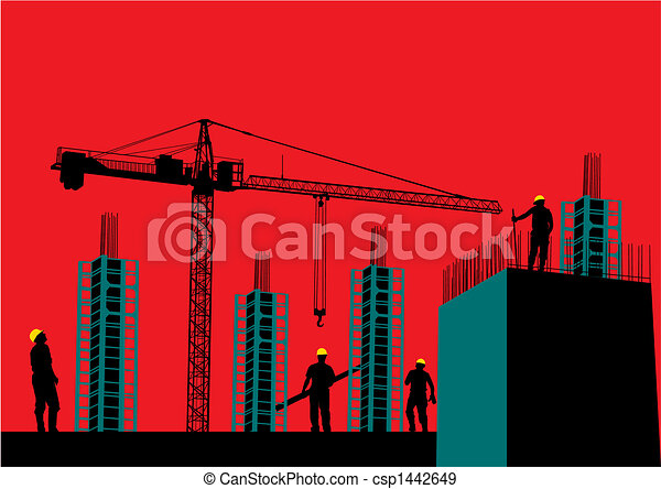 Silhouette of construction site - csp1442649