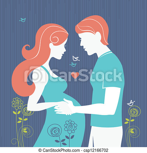 Silhouette of couple. Background with regnant woman and her husband  - csp12166702
