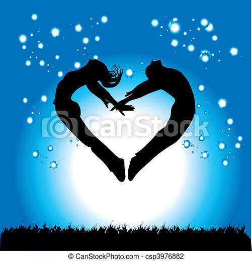 Silhouette of couple in the form of heart  - csp3976882
