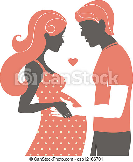 Silhouette of couple. Pregnant woman and her husband  - csp12166701