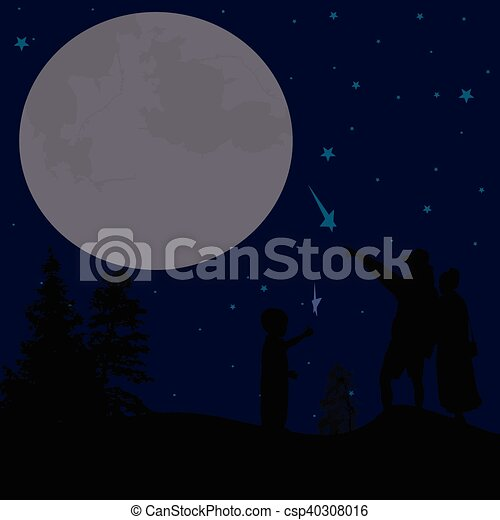 Silhouette of couple watching the night sky - csp40308016