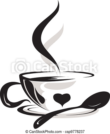 silhouette of cup coffee lover - csp9778237