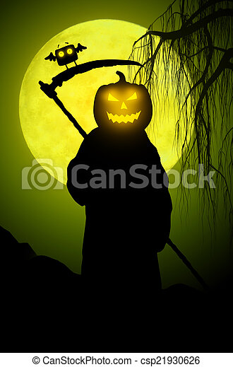 Silhouette of death. Halloween style - csp21930626