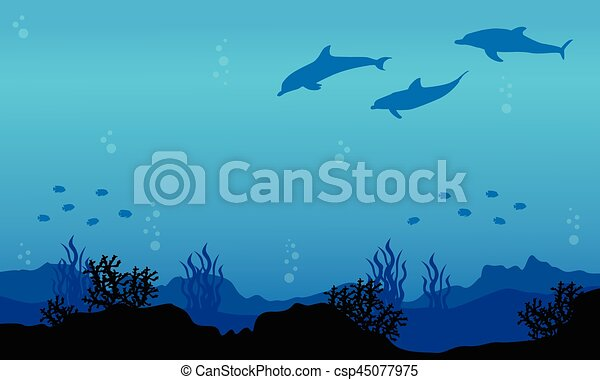 silhouette of dolphin on underwater landscape vector art