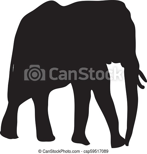 Silhouette Of Elephant On A White Background Vector - csp59517089