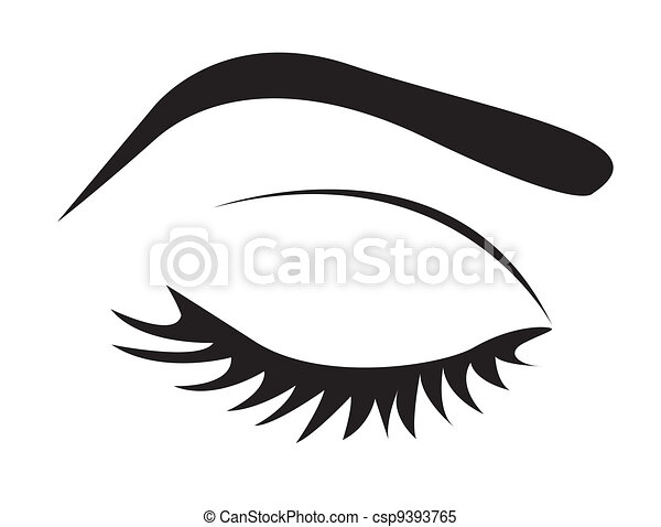 silhouette of eye lashes and eyebrow - csp9393765