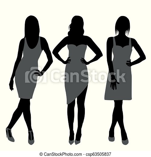 Silhouette of fashion girls top models - csp63505837