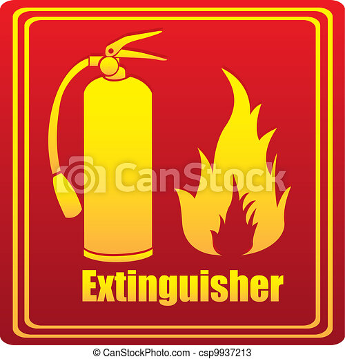 Silhouette of fire extinguisher with flare - csp9937213