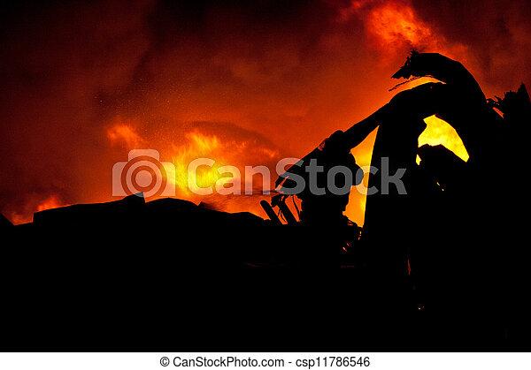 Silhouette of Firemen - csp11786546