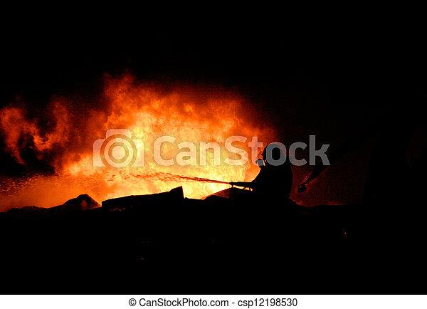 Silhouette of Firemen - csp12198530