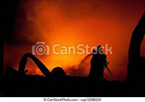 Silhouette of Firemen - csp12298230