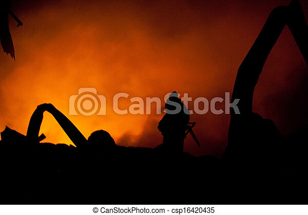 Silhouette of Firemen  - csp16420435