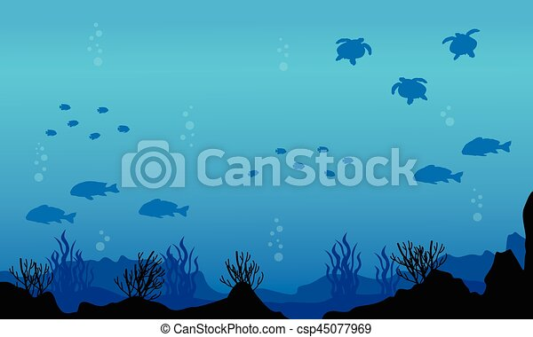 silhouette of fish various underwater landscape vector art