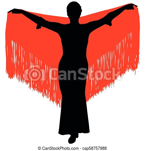silhouette of flamenco dancer - csp58757988