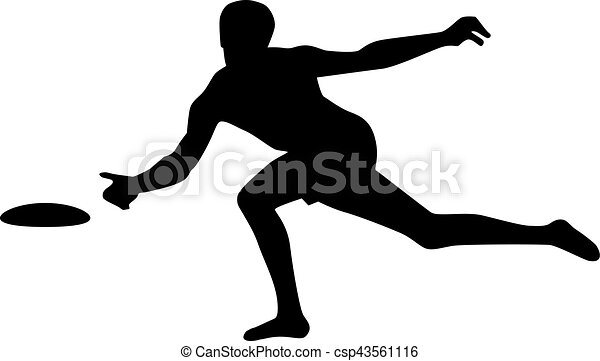 silhouette of frisbee player vector clip art search illustration rh canstockphoto com frisbee golf clipart ultimate frisbee clipart