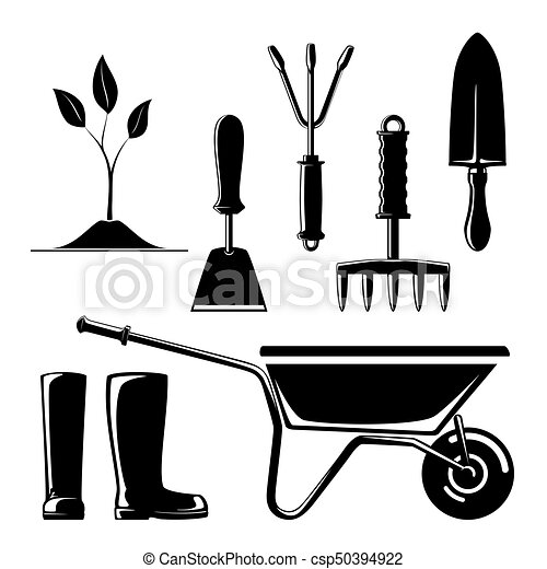 Silhouette Of Garden And Landscaping Tools
