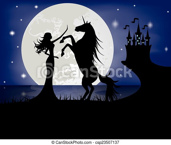 Silhouette of girl and unicorn - csp23507137