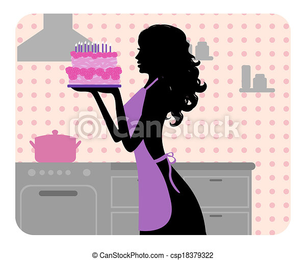 Silhouette of  girl cooking - csp18379322