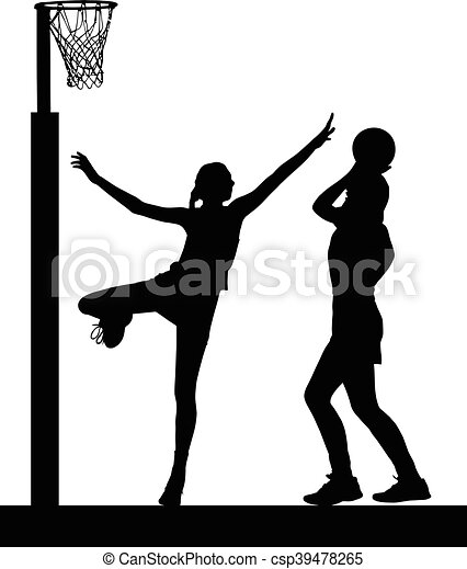 Silhouette of girls ladies netball players jumping and blocking goal - csp39478265