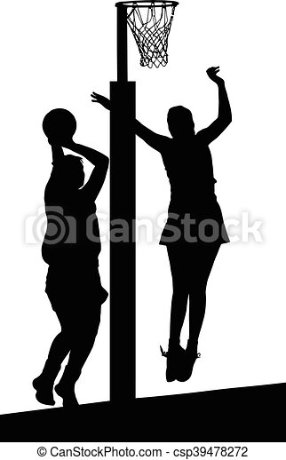 Silhouette of girls ladies netball players jumping and blocking goal - csp39478272