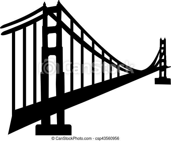Silhouette of golden gate bridge - csp43560956