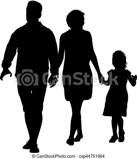 Silhouette of happy family on a white background. Vector illustration. - csp44751664