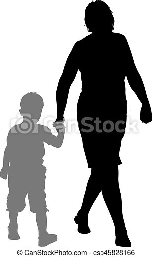 Silhouette of happy family on a white background. Vector illustration. - csp45828166