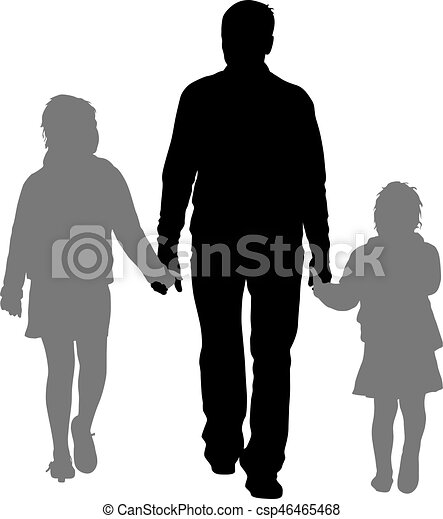 Silhouette of happy family on a white background. Vector illustration. - csp46465468