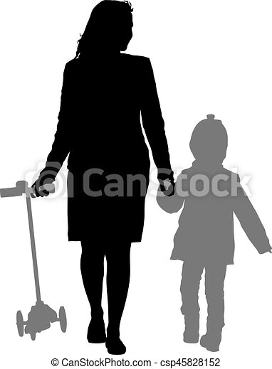 Silhouette of happy family on a white background. Vector illustration. - csp45828152