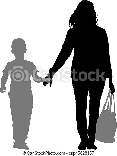 Silhouette of happy family on a white background. Vector illustration. - csp45828157