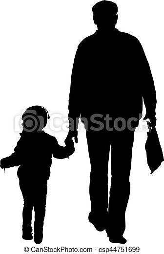 Silhouette of happy family on a white background. Vector illustration. - csp44751699