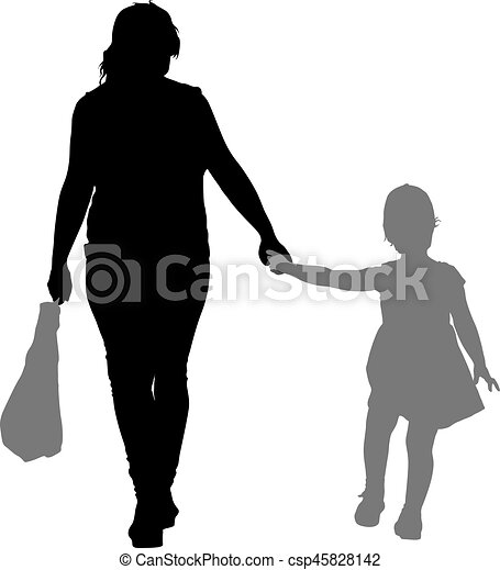 Silhouette of happy family on a white background. Vector illustration. - csp45828142